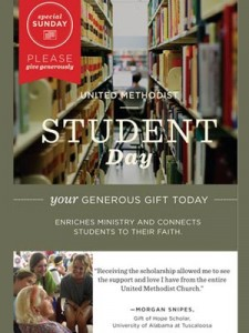 United Methodist Student Day Sunday, UMC