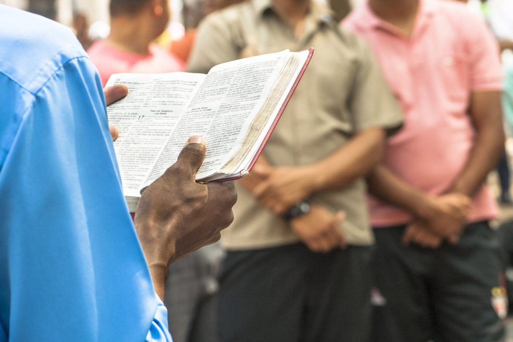 Sao Paulo, Brazil, January 09, 2009. Man evangelical preacher explains God's Word in Se Square in downtown Sao Paulo